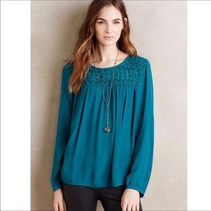 Anthropologie Meadow Rue Top Teal Tunic Top sz. L
